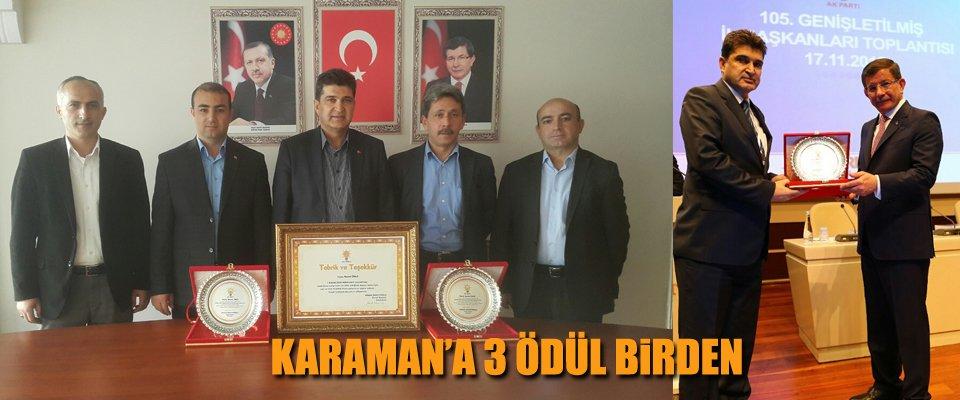 AK PARTİ KARAMAN'A 3 ÖDÜL