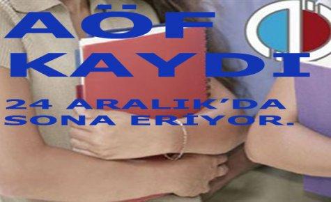 Aöf'de Kayıt İçin Son Gün 24 Aralık