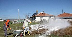 Çubuk'ta ahır ve kümeslerde dezenfekte çalışmaları