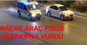 Kaçaklar Polis Arabasına Vurdu