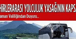 Şehirler Arası Seyahat Yasağı..